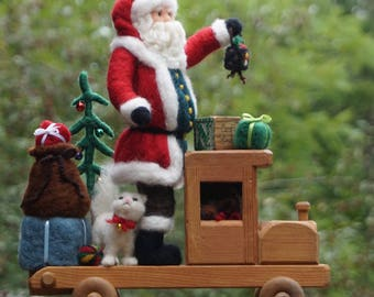 Needle Felted Christmas Santa Claus and wood truck- Needlefelted Wool Animal Soft Sculpture by McBride House