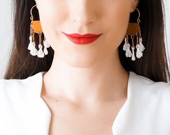 Boho Earrings Statement Earrings Lace Earrings Spring Trends Mom Gift Girlfriend Gift for Her Women Accessory Gift Inspirational/ ROMINA