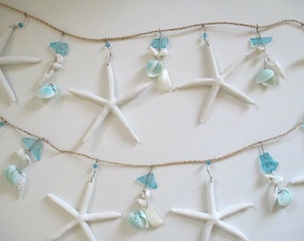 Blue Sea Glass/Starfish Shell Garland