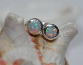 White Opal Stud Earrings Sterling Silver Opal Earrings