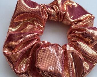 Pink / rose gold / copper metallic hair scrunchie