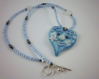 "Clearance - Blue Heart Face Necklace, Funny Face Necklace, Polymer Clay Heart Face, Pendant Necklace, ""Star"""