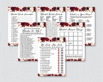 Marsala Floral Bridal Shower Games Package with Six Games- Printable Pink Flower Garden Bridal Games - He Said She Said, Bingo, etc 0033
