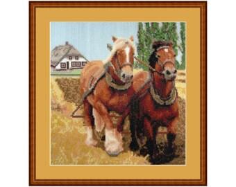 On the Farm, cross stitch kit farm, horses, working horse
