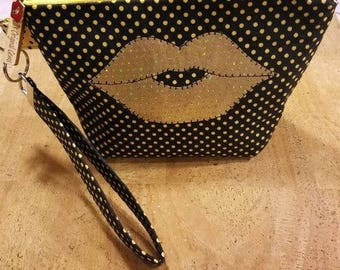 LipSense  wrist-let  bag, direct sales purse, black and Yellow Polk a Dots,  holds 22 lipsticks & additional supplies, golden lips