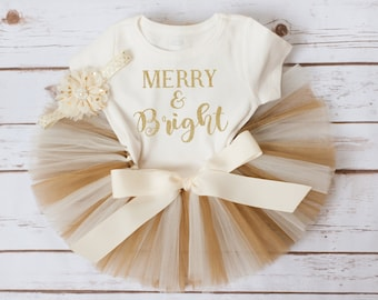 """Baby Christmas Outfit """"Esme"""" merry and bright Christmas tutu set gold Christmas outfit baby girl Christmas tutu outfit first Christmas tutu"""