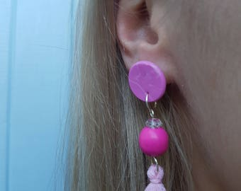 ClayCo Pink disc, wooden bead and tassel polymer clay earrings