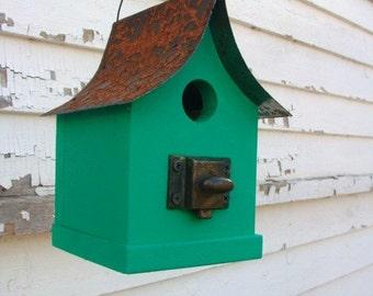 Home & Garden Birdhouse, Outdoor Bird House, Functional Birdhouse, Recycled Birdhouse, Vintage Bird House, Green
