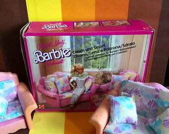 Vintage Barbie Sofa Bed & Chair Lounger Mattel 1987 Teenage Doll Furniture Dollhouse