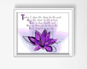 Lotus Wall Decor, Lotus Painting, Lotus Wall Art, Inspirational Print, Lotus Art Purple, New Beginning Print, Lotus Flower Bloom P1098A