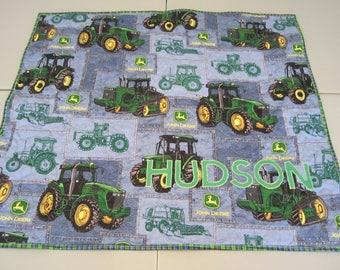 John Deere Tractor Farm Little Baby Toddler Boy Quilt Blanket Blue Green Plaid Handmade