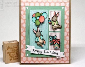 Cute Bunnies Happy Birthday Fancy Greeting Card Handmade Kraft Green Peach Aqua Child Baby Daughter Son Niece Nephew Grandson Granddaughter