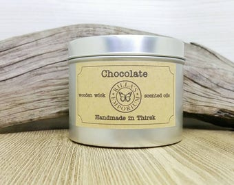 Chocolate - Wooden Wick Travel Candle