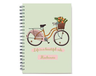 12 month 2018 Planner, 2018-2019 weekly calendar organizer and agenda, life is a beautiful ride, SKU: pli pink bike