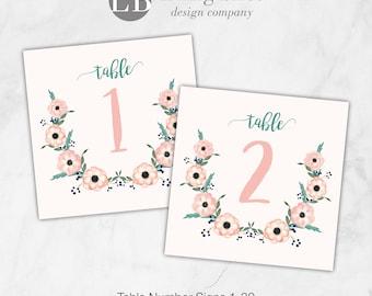 Wedding Table Numbers printable; Anemone Watercolor Flowers