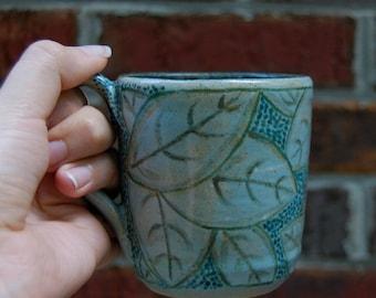 Blue Leaves - handmade ceramic mug, OOAK, stoneware mug, pottery mug, handmade coffee mug, blue mug, tea mug, pottery cup, hand painted mug
