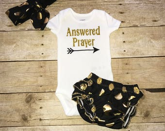 Answered Prayer Newborn Baby Girl Bodysuit Outfit Black and Gold