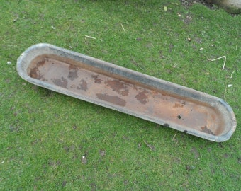 Traditional French Large and Long Solid Galvanised Feeding Trough Herb Garden Alpine Garden Planter Good Condition