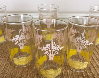 Vintage Juice Glasses// Cross-stitch Pattern Glasses