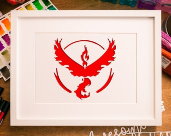 Pokemon Go Team Valor Instinct Mystic Papercut template, A4 framed art, PDF DIY print and cut your own, instruction guide included free
