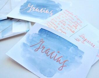 Postcard /Thank You /Wedding/Copper/Indigo/Watercolor