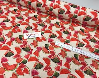 100% cotton linen look panama  water melon, tropical parrots  design  fabric  MATERIAL 140cm wide