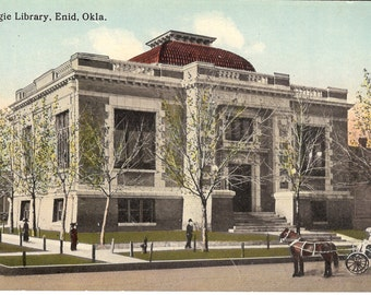 Vintage Postcard...Oklahoma, Enid, Carnegie Library...Unused...no. OK0007
