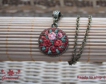 Roses necklace embroidered necklace roses jewelry floral pendant for women terracotta necklace everyday jewelry idea Christmas gift for her