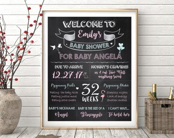 Baby Shower Chalkboard Sign, Baby Shower Decoration, Baby Shower Chalkboard Poster Sign, Baby Shower Chalkboard Sign Printable, Personalized