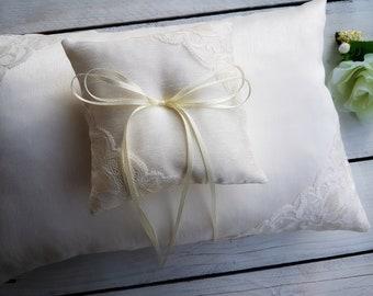 Beautiful silk ring pillow, White lace ring bearer pillow