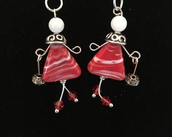 Red Valentines Purse Lady Earrings