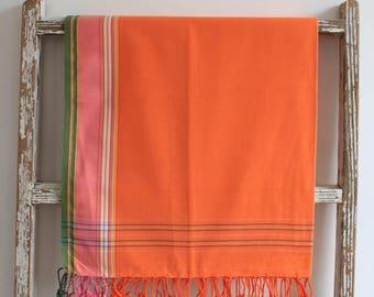 African Orange Cotton Sarong /  Swim Sarong / Beach Sarong Wrap / Bathing Suit Cover Ups Sarong / Pareo Wrap / Beach Pareo Cover Up / Sarong