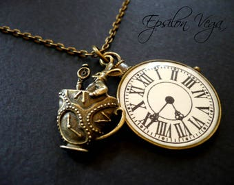 Alice in Wonderland necklace - White rabbit in a cup and pocket watch