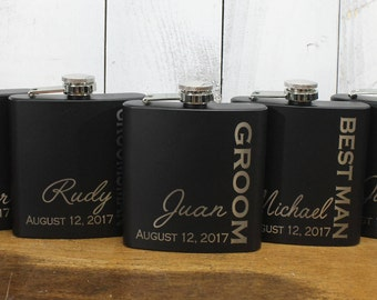 Flask/Engraved/Best Man/Groom Gift/Groomsmen/Bachelor Party/Father's Day/Flask/Color Choice/Personalized/FL00015