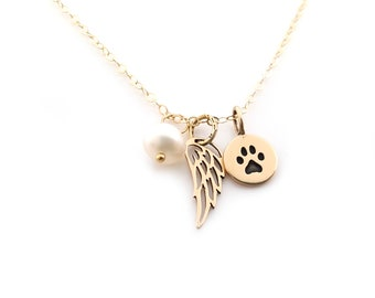 Paw Print Angel Wing Necklace - Memorial Necklace - Pet Loss Necklace - 14k Gold Filled - Memorial Jewelry