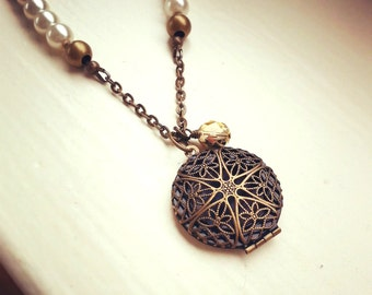 Cream Pearl Antique Bronze Filigree Locket Necklace, Vintage locket pendant, Czech glass bead