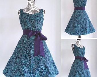 Pin up dress - rockabilly navy swing dress- sweetheart neckline- sizes XS to 5XL