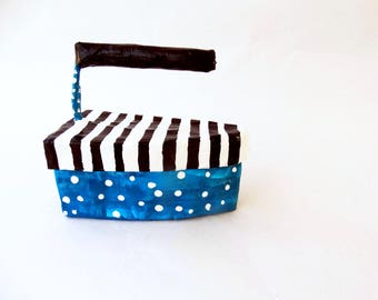papier mache iron,free shipping,old fashioned designed,stripes,dots,box,papier mache box,storage,decoration,gift,unique,turquoise,papermache