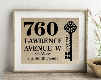 Street Address Housewarming Personalized Burlap Print | Family Name Established Print | Housewarming Gift for Family Couple | New Home