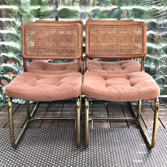 Vintage Cantilever Breuer Style Chairs - Cesca Dining Chairs – Cane Back Modern Chairs - Set of 4 - Portland Metro PICKUP or DELIVERY ONLY