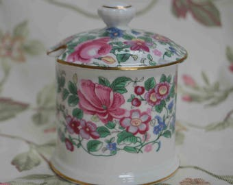 """Beautiful Crown Staffordshire """"THOUSAND FLOWERS"""" Jam Pot  In excellent condition"""