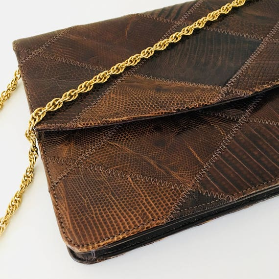 Vintage Brown Palizzio Leather Purse Gold Chain Strap 70s Brown Patchwork Snake Skin Convertible Clutch Boho Chic