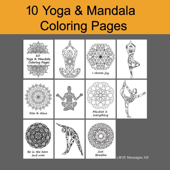 Yoga Coloring Book 10 Pages Instant Download Pdf Mandala Sheet Zen Art Printable MandalaPrintable YogaDIY