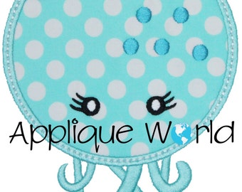 Girly Octopus Applique Embroidery