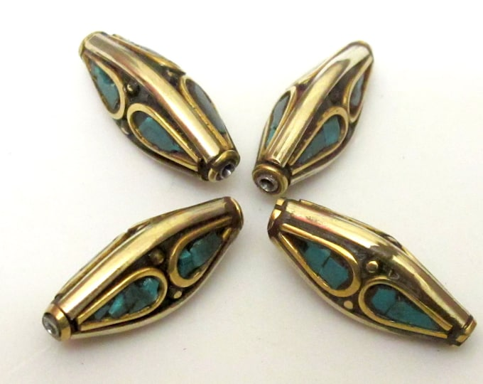 2 Beads - Nepal beads brass with turquoise inlay bicone shape - Nepal beads shop - BD073