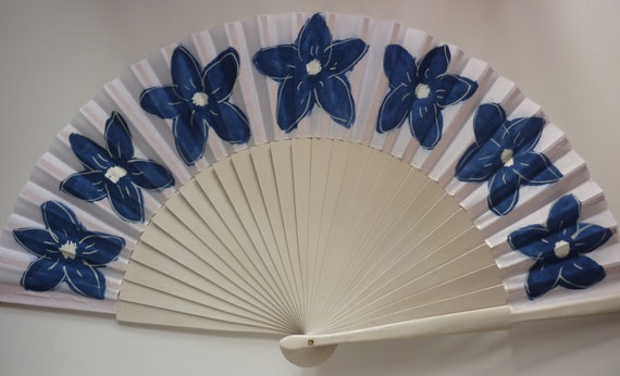 Hand Fan with Navy Floral Design SIZE OPTION White Wood Fan Fabric Border by Kate Dengra Spain