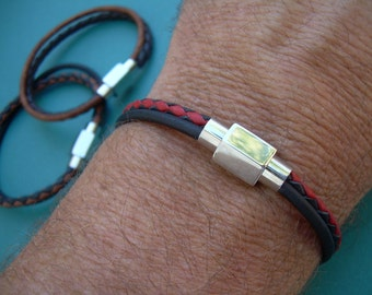 Double Strand Smooth and Braided, Mens Leather Bracelet, Stainless Steel Magnetic Clasp, Mens Jewelry, Mens Bracelet, Mens Gift