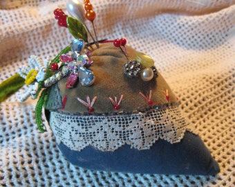 Velvet CRAZY Quilt Strawberry Pincushion/ Pin Cushion/ Rhinestone Dragonfly/ Beads/ Button/ Vintage Twist Hat Pins / Primitive Folk Art