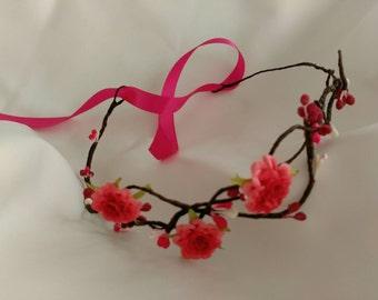 Pink flower crown, pink crown, flower headband wedding, rustic wedding hair accessories, Bridal headpiece, crown headdress, Floral headband