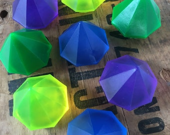 10 Beautiful Jewel tone Gem soaps - Lovely packaging & gift tags included - Bridal shower party favours - SLS free - 1.70 oz each - Gem soap